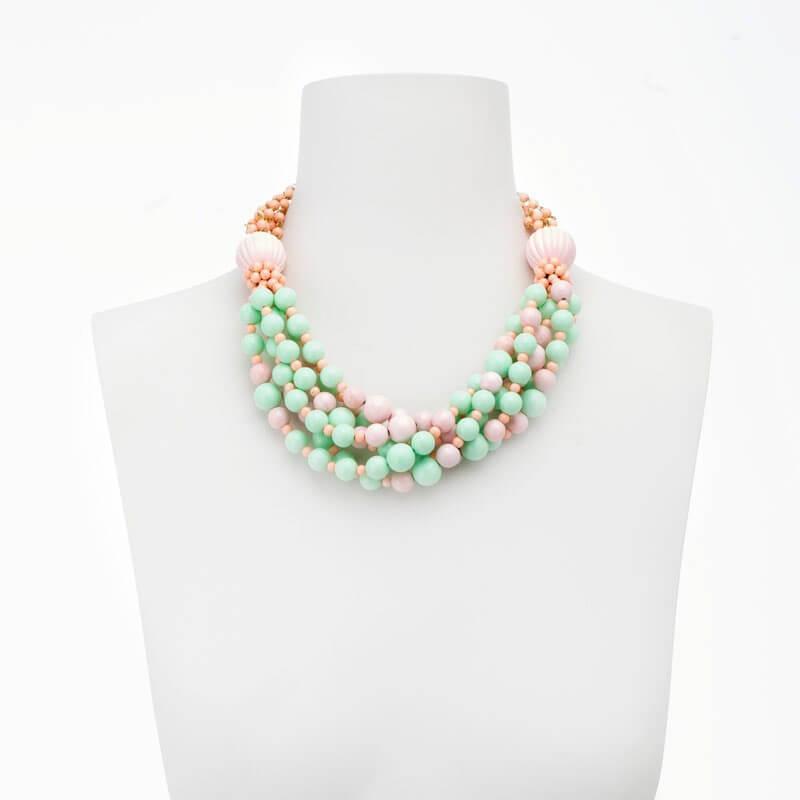Favoloso Collana girocollo verde acqua e rosa peau d'ange - Chic Ad Hoc PE98