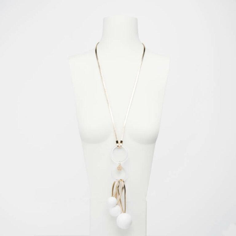 collana lunga bianco oro