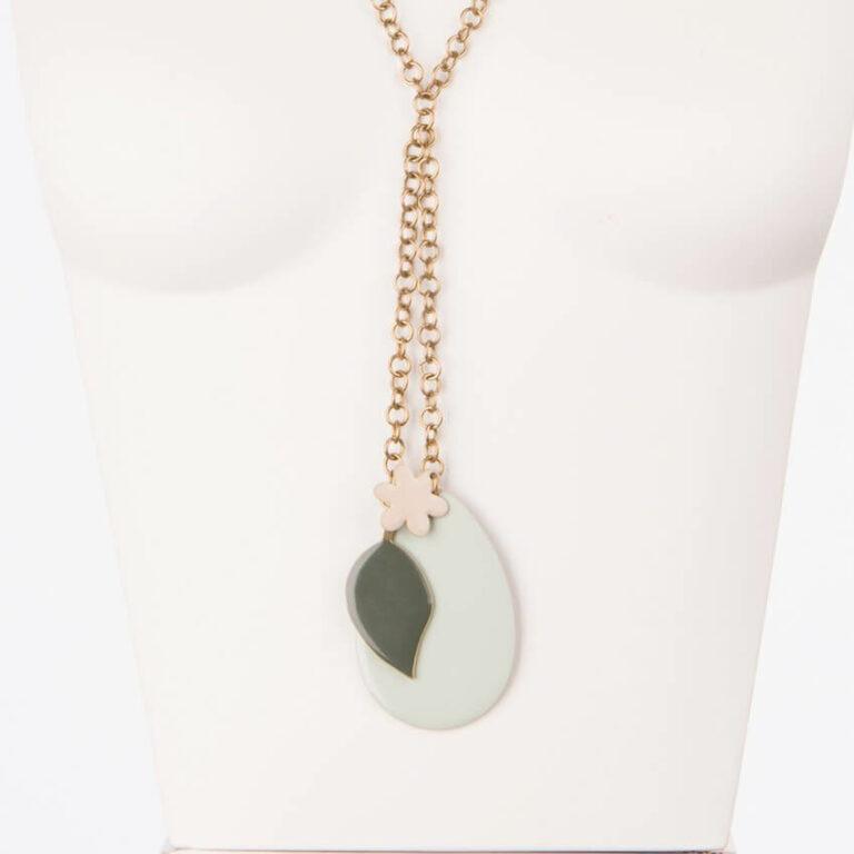 collana lunga ciondoli smaltati verde