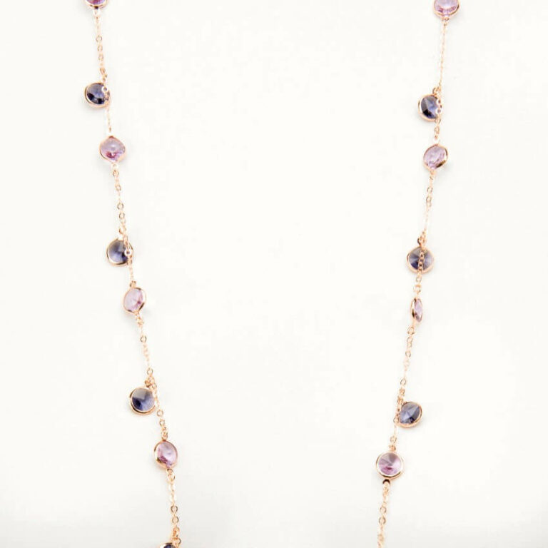 collana lunga oro rosa viola