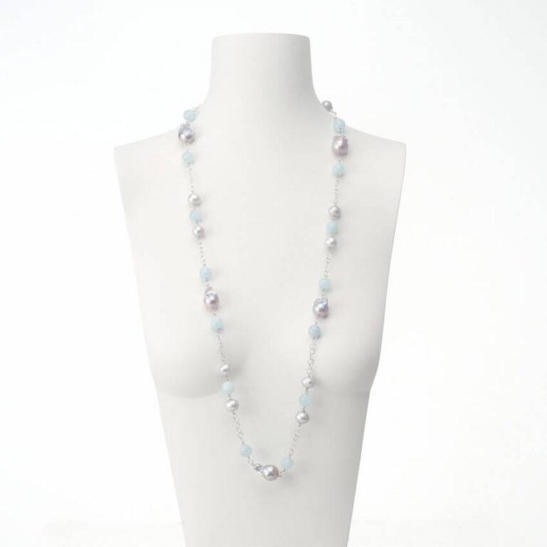 collana lunga perle acquamarina argento