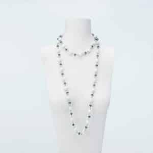 collana lunga perle cristalli bianco blu