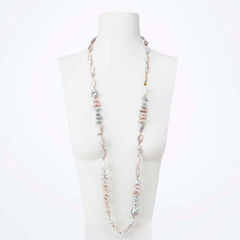 collana lunga perle rosa grigia bianca
