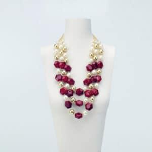collana lunga resina rossa perle oro