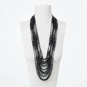 collana multifili lunga cristalli neri