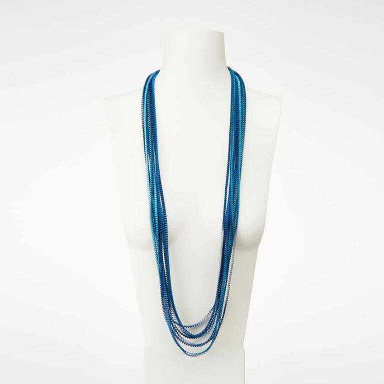 collana plissettata seta blu turchese azzurro