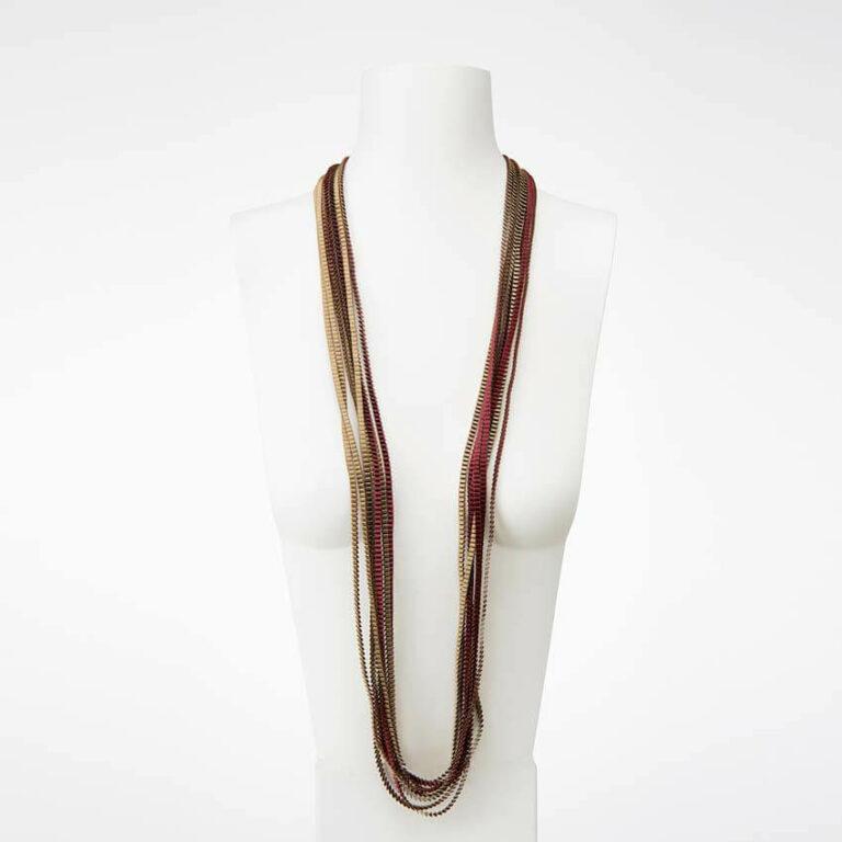 collana plissettata seta bronzo bordeaux
