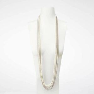 collana plissettata seta grigio bianco