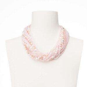 collana torsade cristalli perle rosa