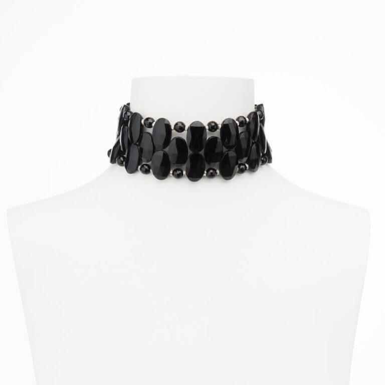 collarino chocker nero argento