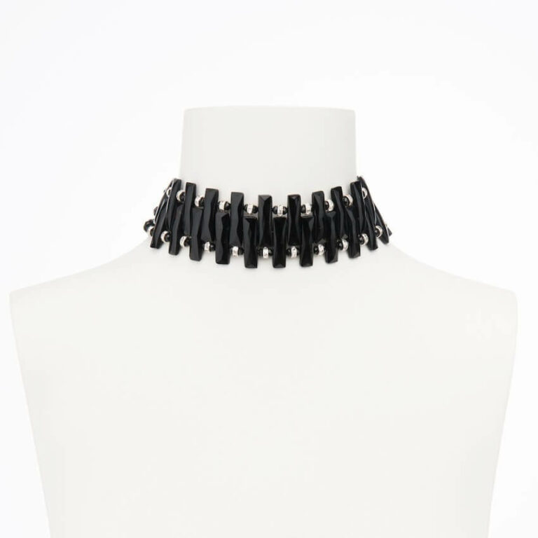 collarino chocker nero strass