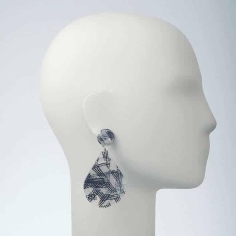 orecchino clip acetato nero trasparente