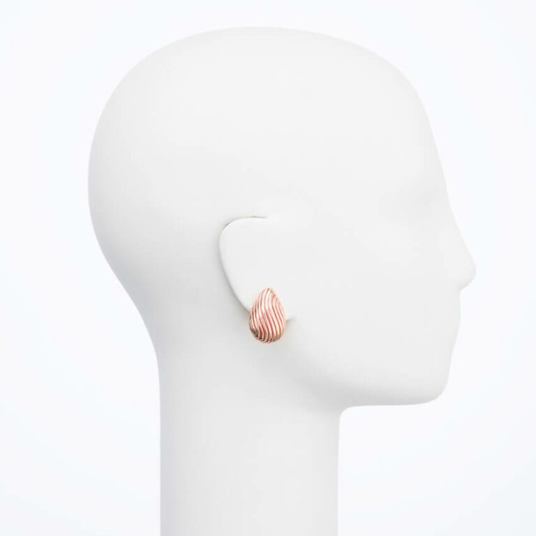 orecchino clip goccia rosso oro