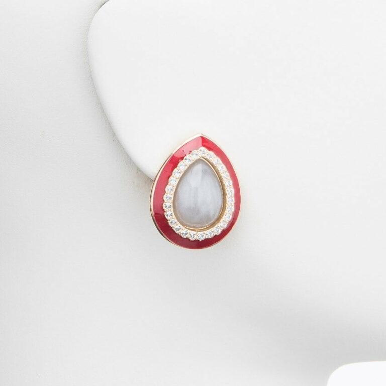 orecchino clip goccia rosso strass
