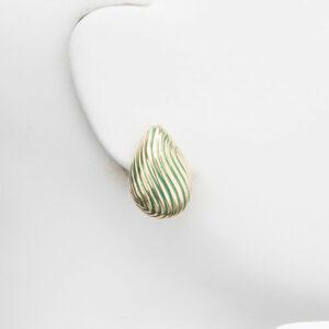 orecchino clip goccia verde oro