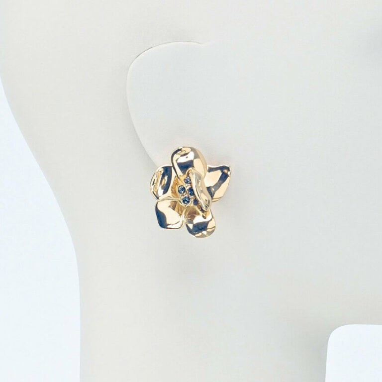 orecchino clip lobo fiore oro