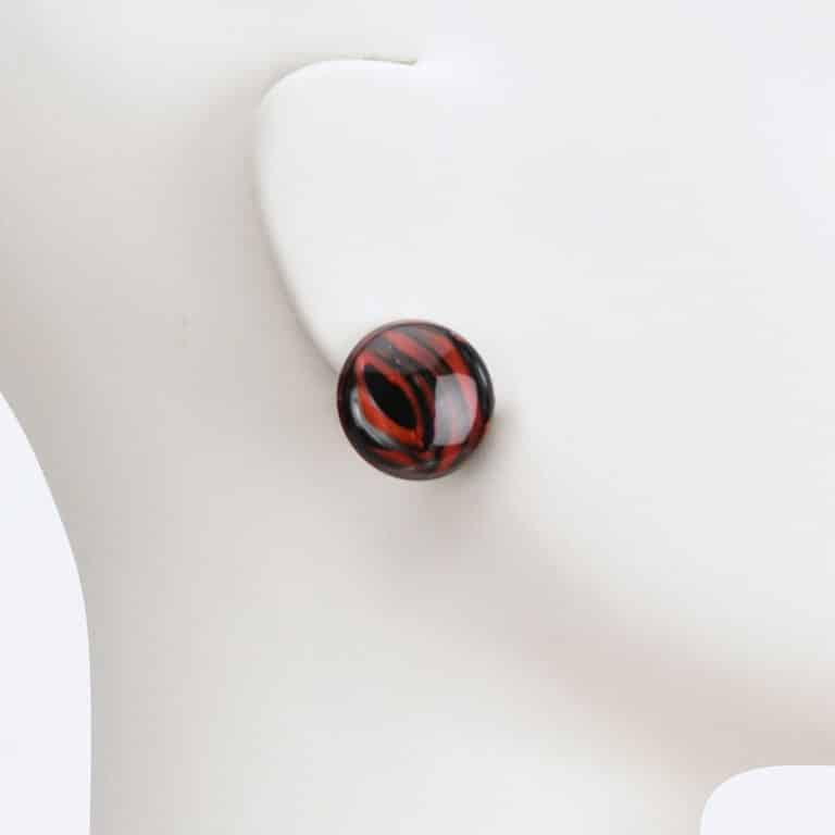 orecchino clip lobo rosso nero