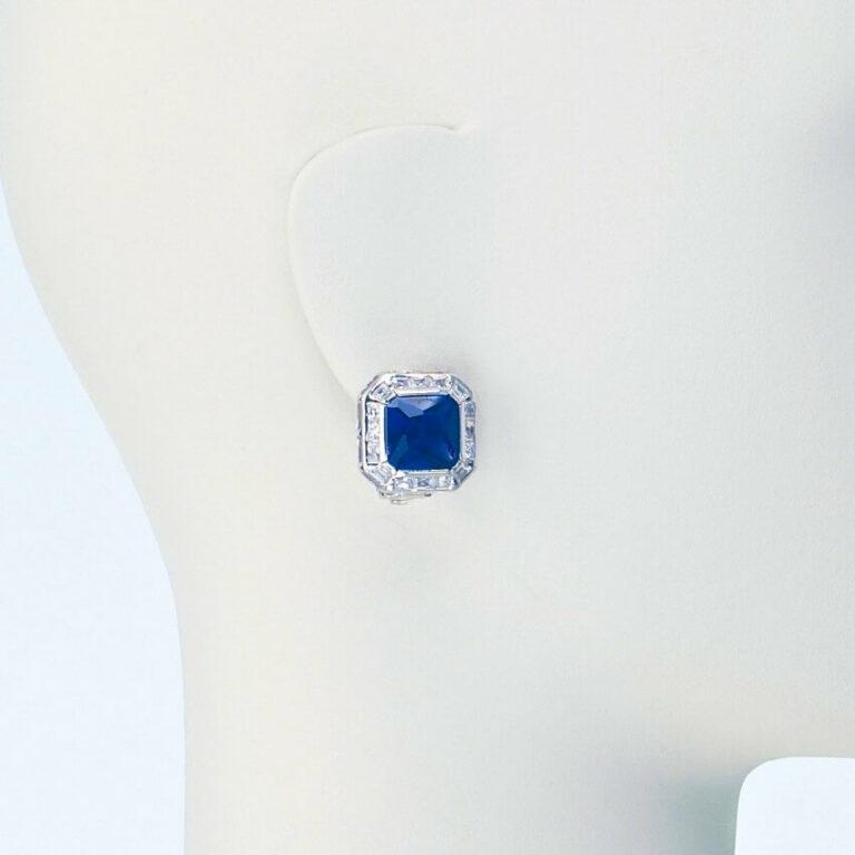 orecchino clip lobo zirconi blu zaffiro