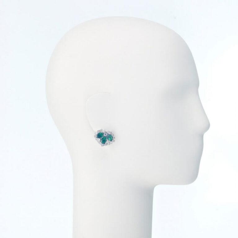 orecchino clip lobo zirconi verde smeraldo