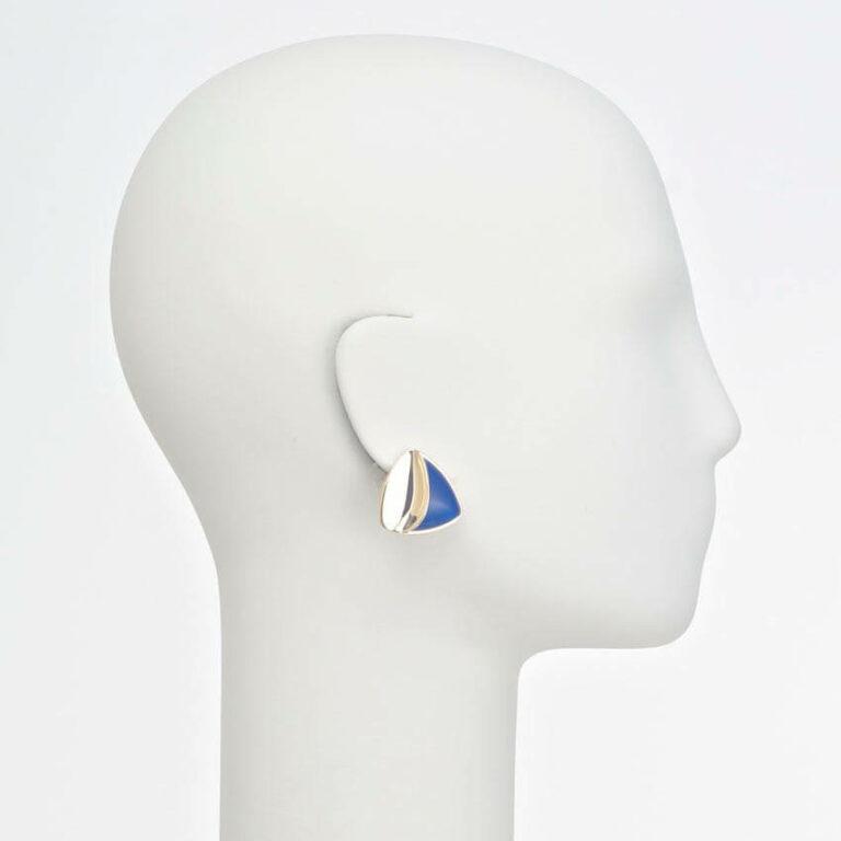 orecchino clip oro blu