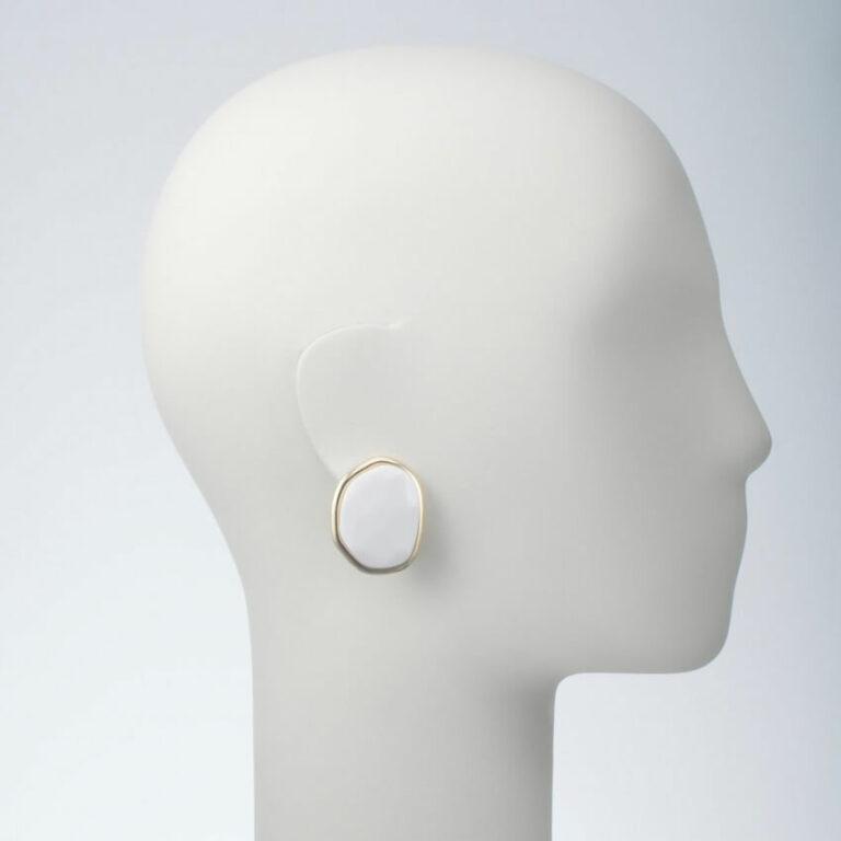 orecchino clip oro resina rosa bianco