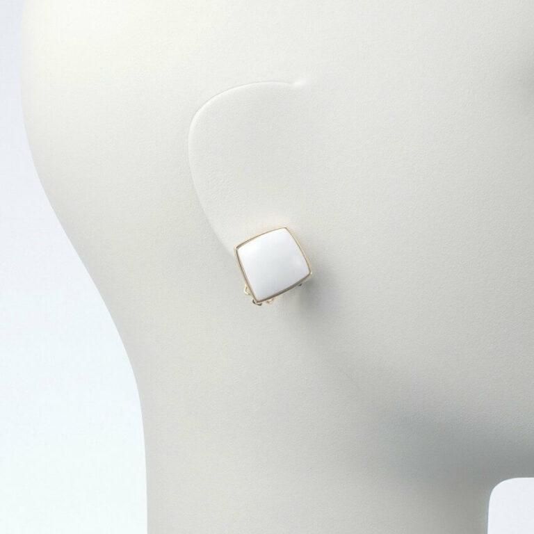 orecchino clip oro resina bianco