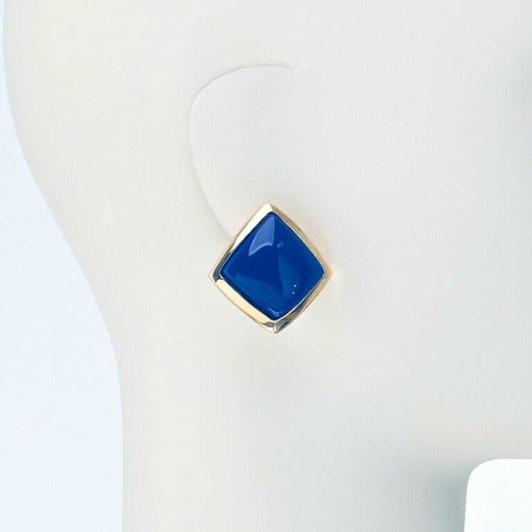orecchino clip oro resina blu
