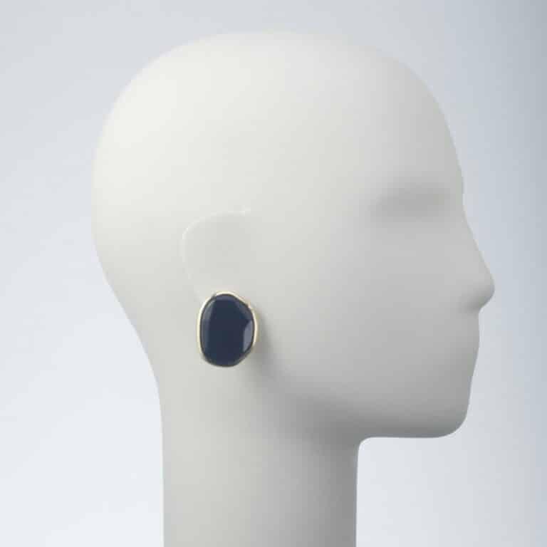 orecchino clip oro resina rosa nero
