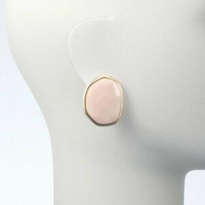 orecchino clip oro resina rosa cipria