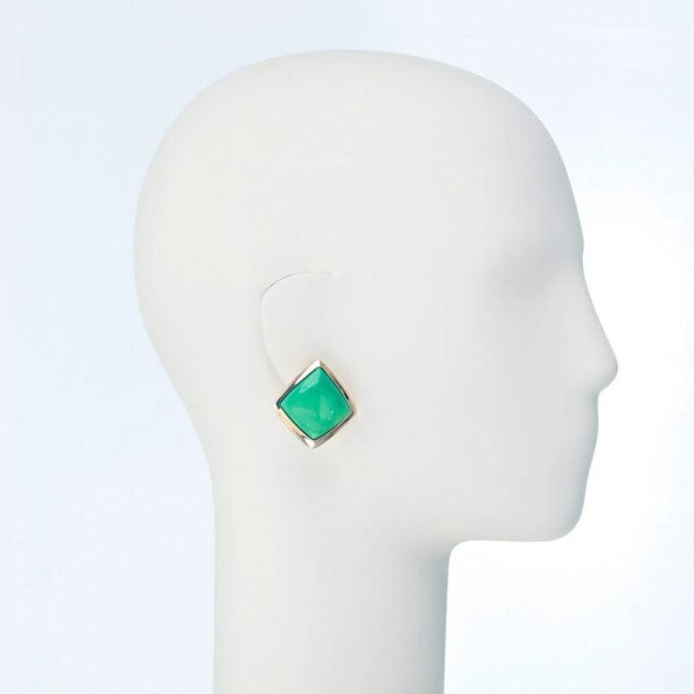 orecchino clip oro resina verde