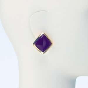orecchino clip oro resina viola