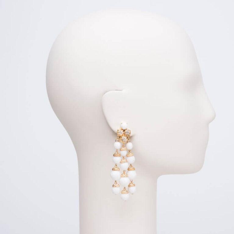 orecchino clip oro strass agata bianca