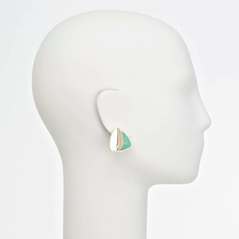 orecchino clip oro verde
