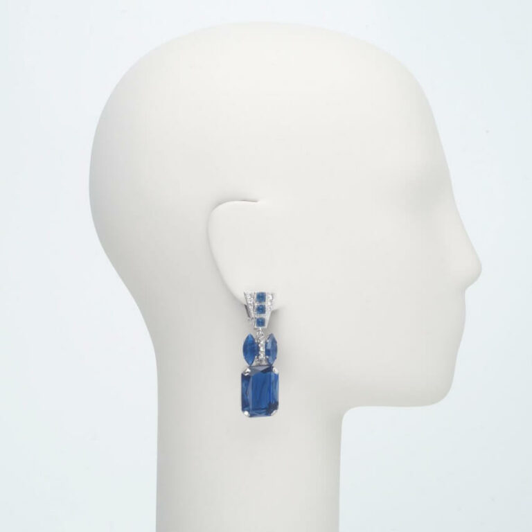 orecchino clip pendente argento blu zaffiro