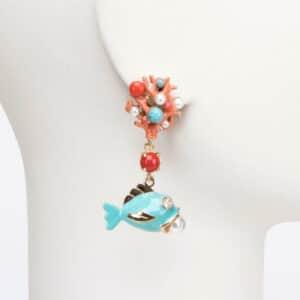 orecchino clip pendente mare pesce turchese