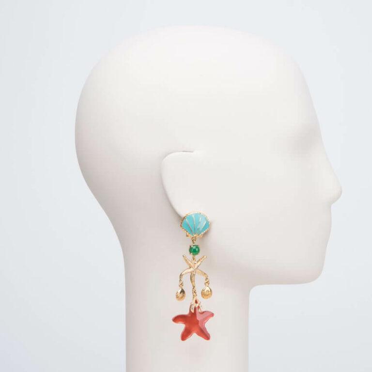 orecchino clip pendente mare rosso turchese