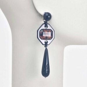 orecchino clip pendente nero maculato