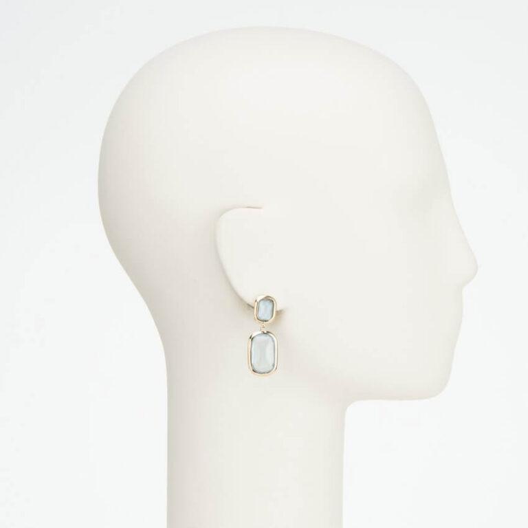 orecchino clip pendente oro azzurro