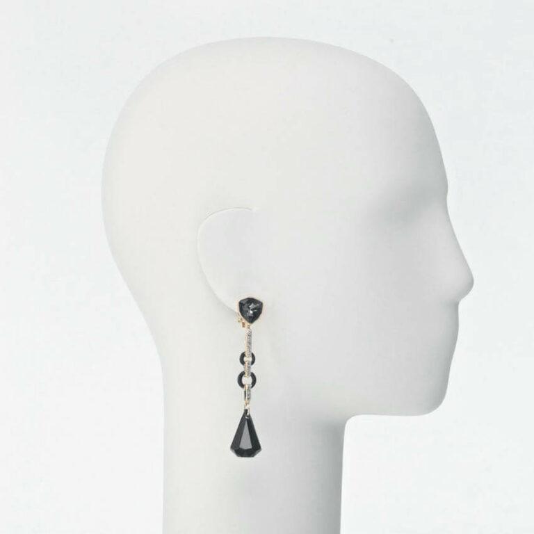 orecchino clip pendente oro cristallo nero