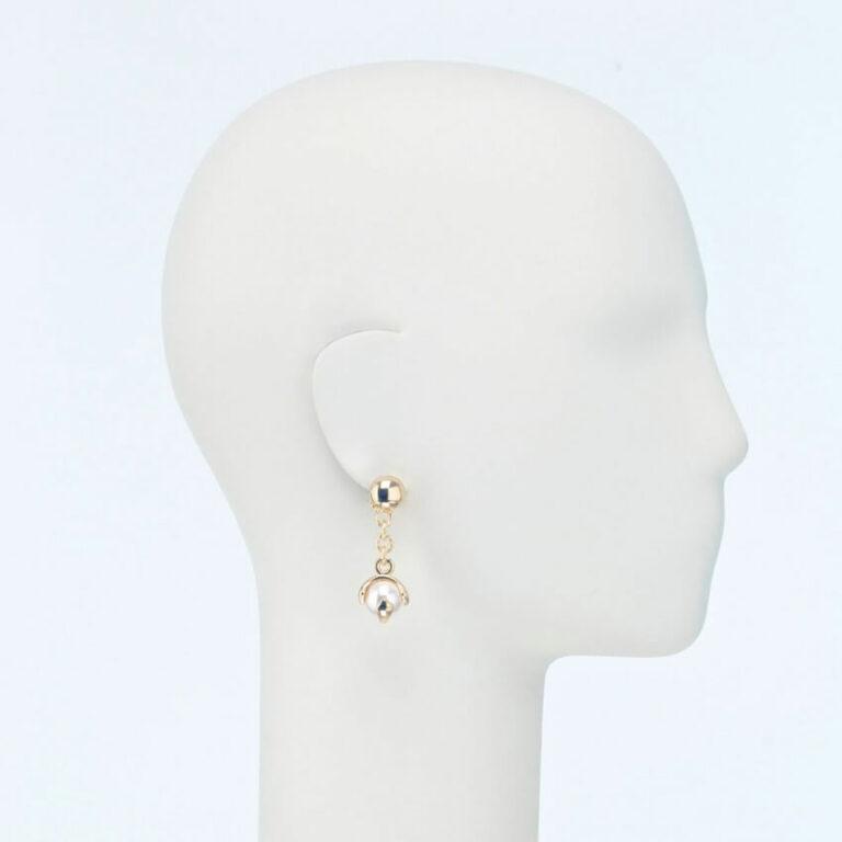 orecchino clip pendente perla bianca