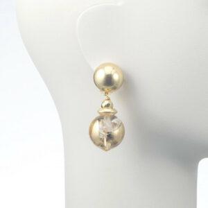orecchino clip pendente sfera oro