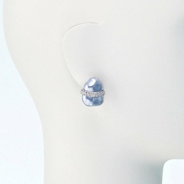 orecchino clip perla grigia strass