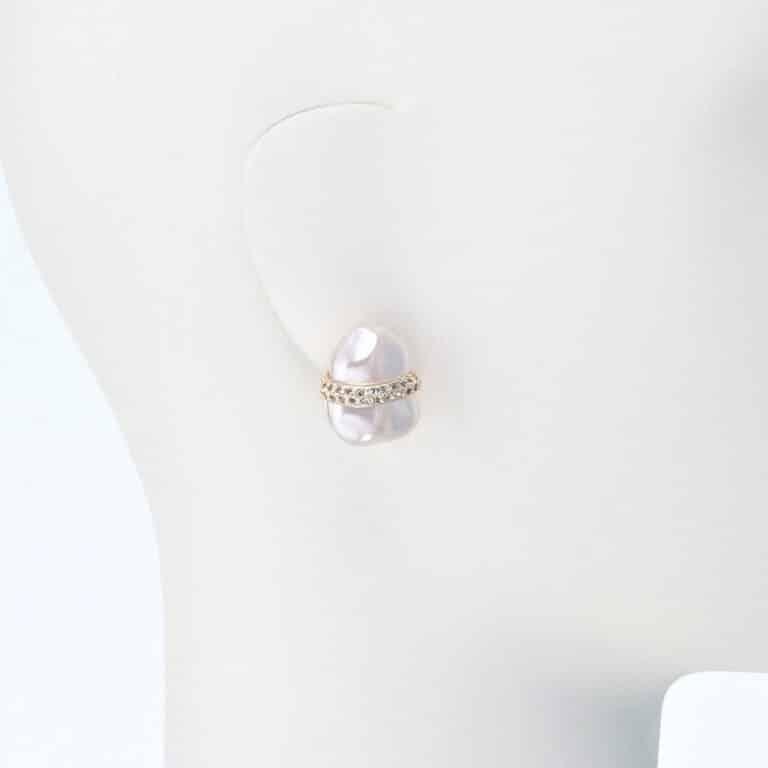 orecchino clip perla strass