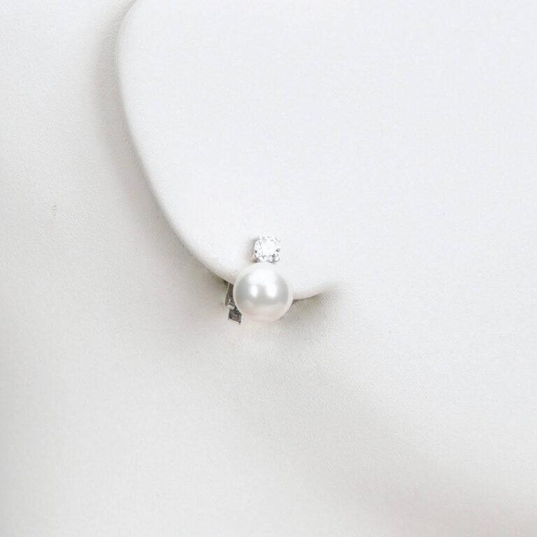 orecchino clip perla zircone