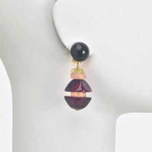 orecchino clip resina nera ambra scura