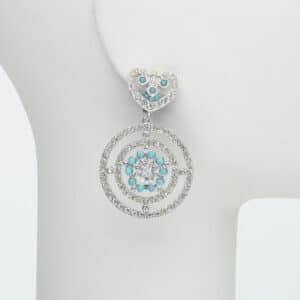 orecchino clip sole zirconi turchese