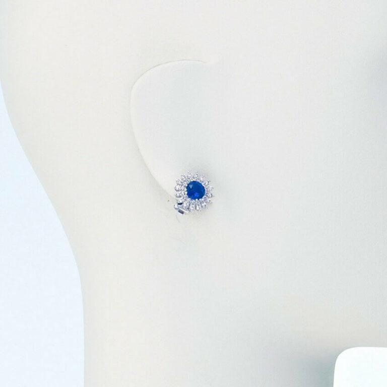orecchino lobo clip argento zircone blu