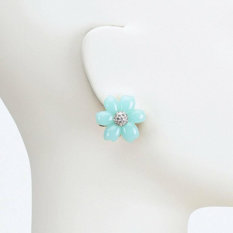 orecchino lobo clip fiore acquamarina