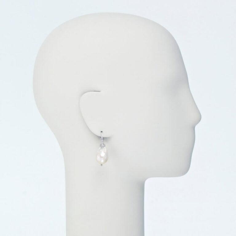 orecchino monachella argento perla barocca