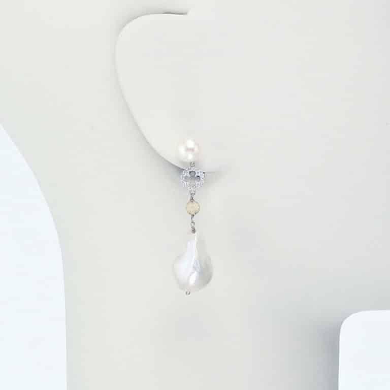 orecchino pendente argento zirconi perla fiume
